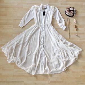 Nasty Gal Shirt Maxi dress semi sheer white 2 NWT